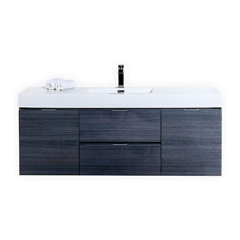 """Bliss 60"""" Gray Oak Wall Mount Single Sink Modern Bathroom Vanity"""