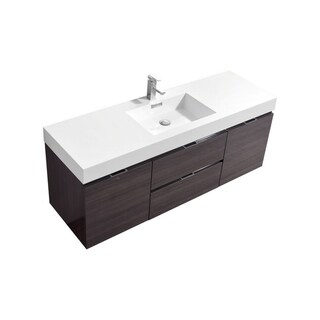 "Bliss 60"" High Gloss Gray Oak Wall Mount Single Sink Modern Bathroom Vanity"