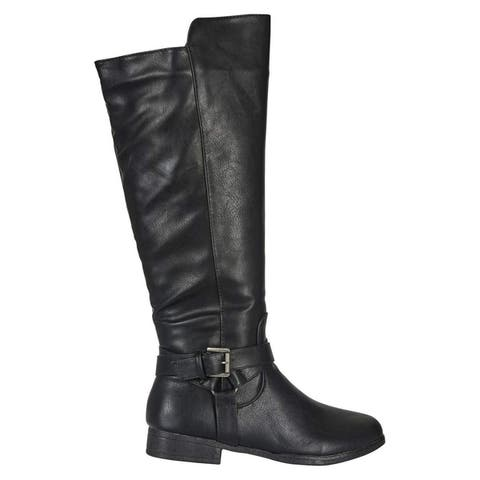 Womens Microsuede Knee-High Riding Boot Buckle Straps Fashion Shoes