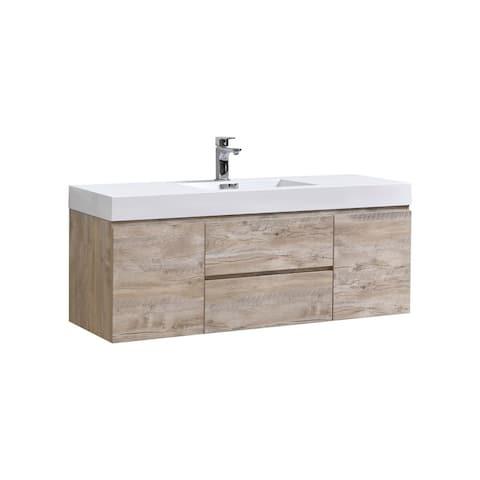 "Bliss 60"" Nature Wood Wall Mount Single Sink Modern Bathroom Vanity"