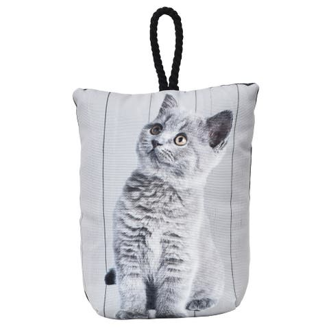 "Kitten Printed Fabric Bag Door Stop Interior Weighted Floor 2.2 lbs - 6""L x 4.6""W x 8""H"
