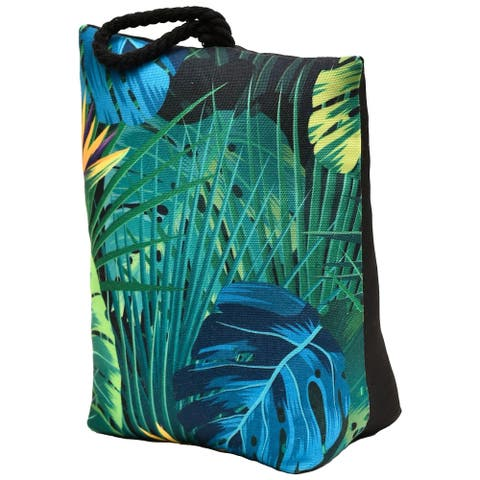 """Tropical Printed Fabric Bag Door Stop Interior Weighted Floor 2.2 lbs - 6""""L x 4.6""""W x 8""""H"""