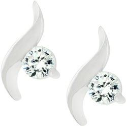 Kate Bissett Silvertone Cubic Zirconia Swirl Drop Stud Earrings