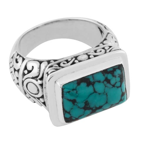Handmade Sterling Silver Turquoise Cawi Ring (Bali)