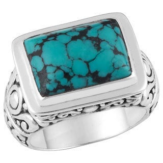 Handmade Sterling Silver Turquoise Cawi Ring (Indonesia)