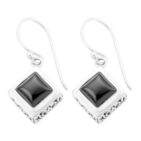Handmade Sterling Silver Black Onyx Dangle Earrings Indonesia