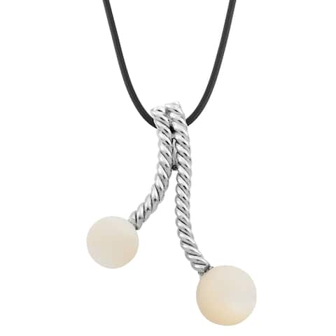 Handmade Silver Mother of Pearl Bead Pendant Necklace (Bali)