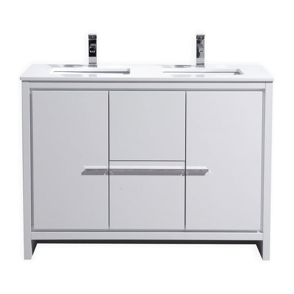 Dolce 48″ Double Sink High Gloss White Modern Bathroom Vanity with White Quartz Countertop
