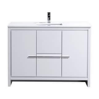 Dolce 48″ High Gloss White Modern Bathroom Vanity with White Quartz Countertop