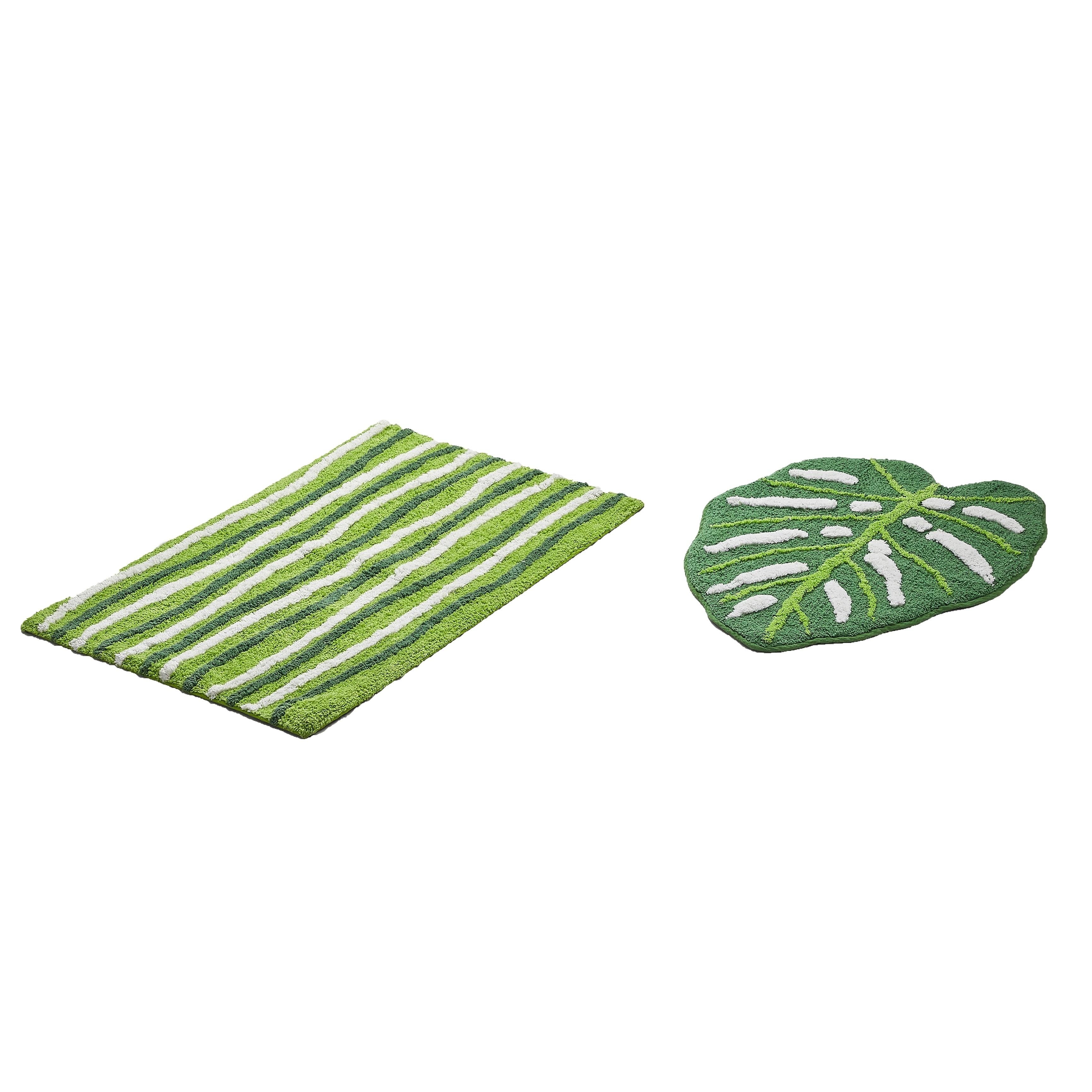 Green Leaf 2 Piece Cotton Bath Rug Set