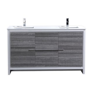 Dolce 60″ Double Sink Ash Gray Modern Bathroom Vanity with White Quartz Countertop