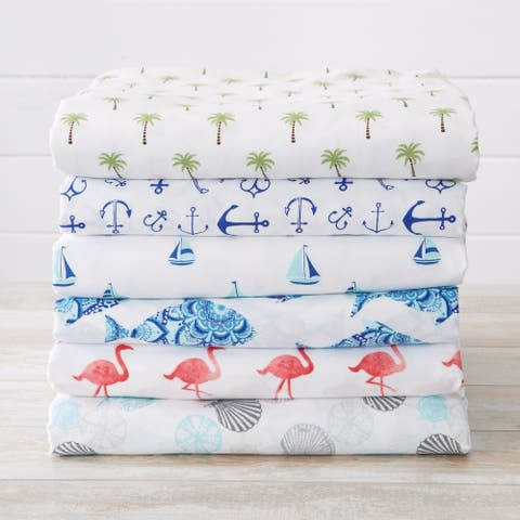 Newport Collection Coastal Printed Microfiber Bed Sheet Set