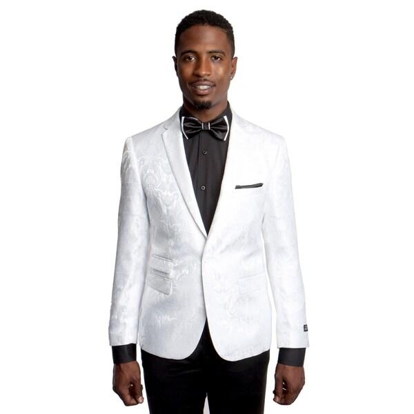 Mens Jacket Paisley Design Slim Fit Notch Lapel Stylish Blazer Jackets
