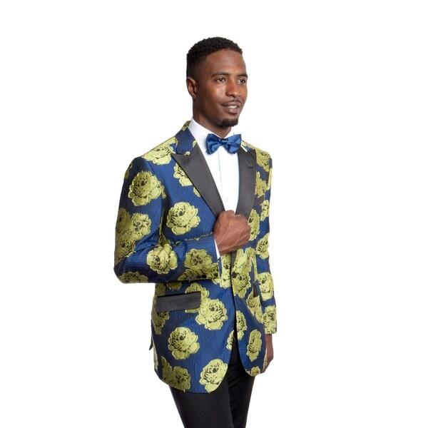Mens Jacket Floral Print Satin Peak Lapel Stylish Mens Blazer Jackets