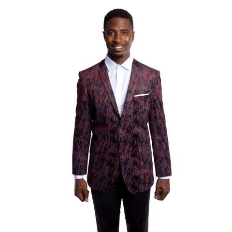Fashion Jacket Velvet Textured Notch Slim Mens Stylish Blazer Jackets