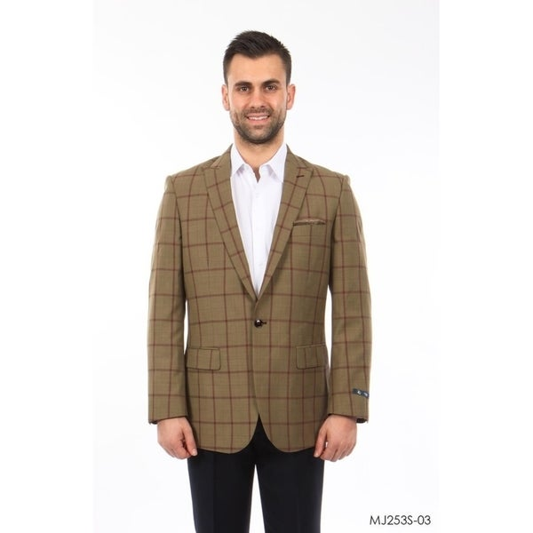 Mens Windowpane Peak Slim Fit Blazer Stylish Mens Blazer Jackets