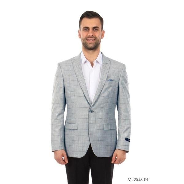 Mens Jacket Windowpane Notch Slim Fit Blazer Stylish Blazer Jackets