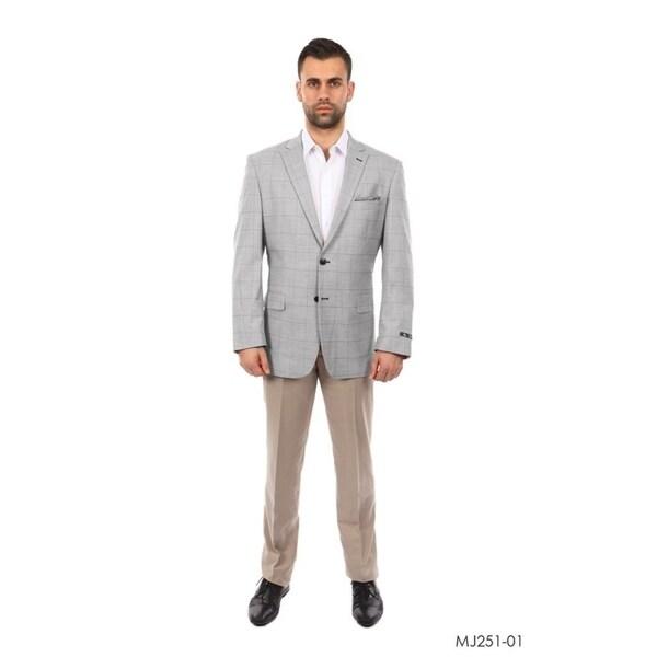 Designer Jacket Windowpane Peak Lapel Stylish Mens Blazer Jackets
