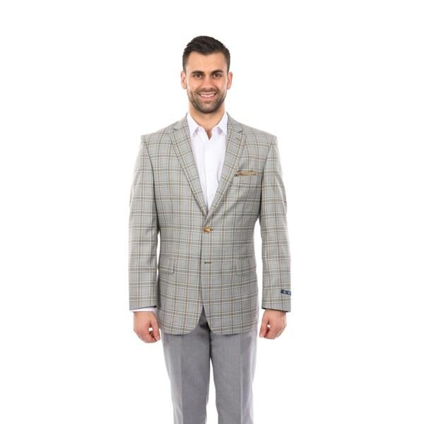 Fashion Jacket Modern Fit Windowpane Stylish Mens Blazer Jackets