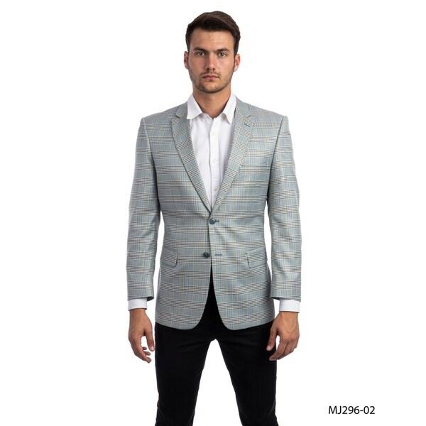 Fashion Jacket Plaid Modern Fit Mens Stylish Blazer Jackets