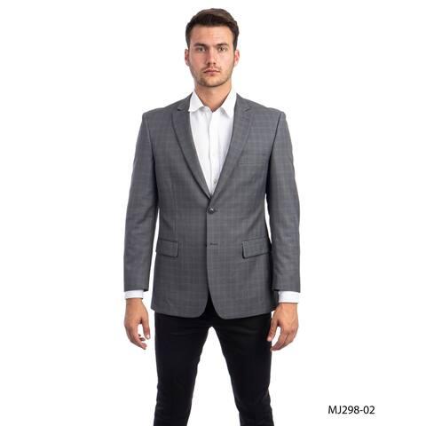 Fashion Jacket Windowpane Modern Fit Mens Stylish Blazer Jackets