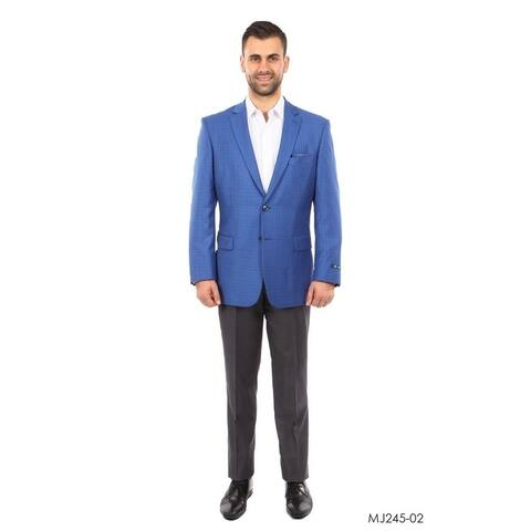 Mens Blazer Plaid Modern Fit Peak Lapel Stylish Blazer Jackets