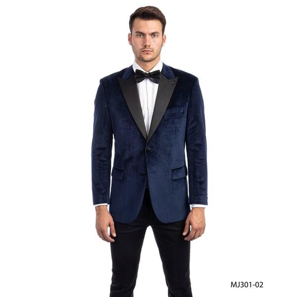 Mens Jacket Velvet Satin Peak Lapel Modern Fit Stylish Blazer Jackets