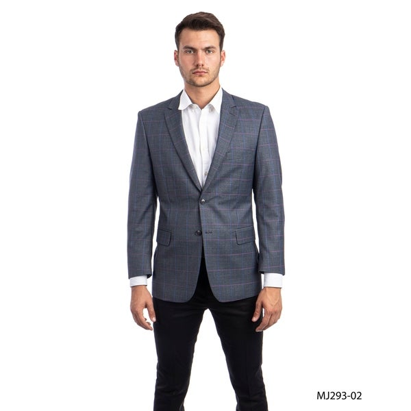 Mens Blazer Windowpane Modern Fit Notch Lapel Stylish Blazer Jackets