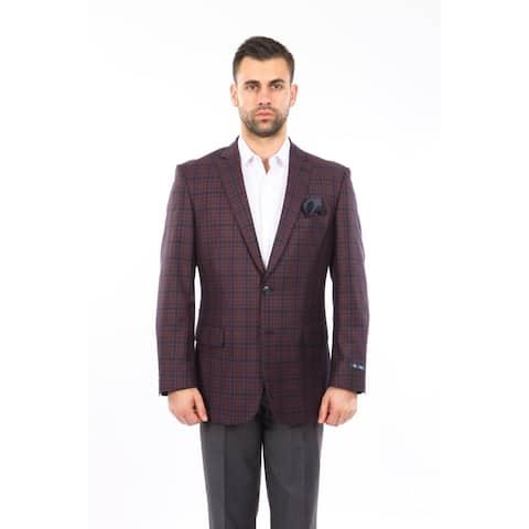 Mens Blazer Fashion Jacket Windowpane Modern Stylish Blazer Jackets
