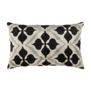 "Pasargad Home Velvet Ikat Pillow- 16"" X 24"" - Ivory/Black"