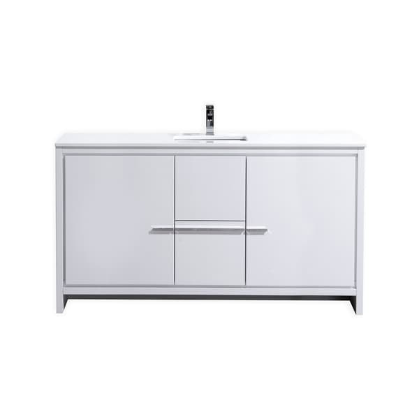 Dolce 60″ High Gloss White Modern Bathroom Vanity with White Quartz Countertop