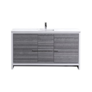 Dolce 60″ Ash Gray Modern Bathroom Vanity with White Quartz Countertop