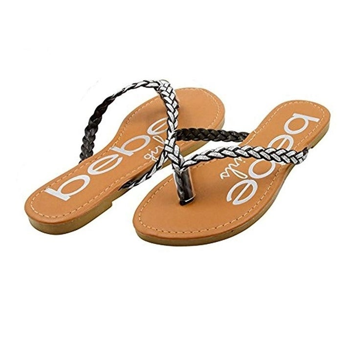 bebe Girls Braided Glitter Sandals with Printed Footbed