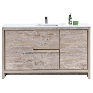 Dolce 60″ Nature Wood Modern Bathroom Vanity with White Quartz Countertop