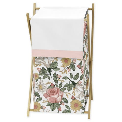 Sweet Jojo Designs Vintage Floral Boho Collection Laundry Hamper Shabby Chic Rose Flower Farmhouse
