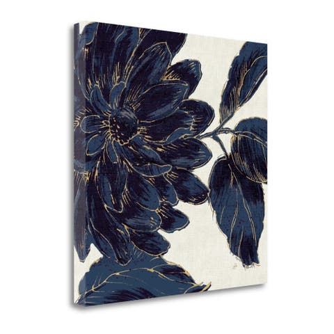 """Indigo Garden I"" by Daphne Brissonnet, Fine Art Giclee Print on Gallery Wrap Canvas, Ready to Hang"