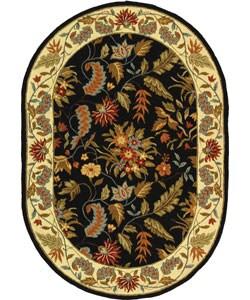 Safavieh Handmade Paradise Black Wool Rug (4'6 x 6'6 Oval)