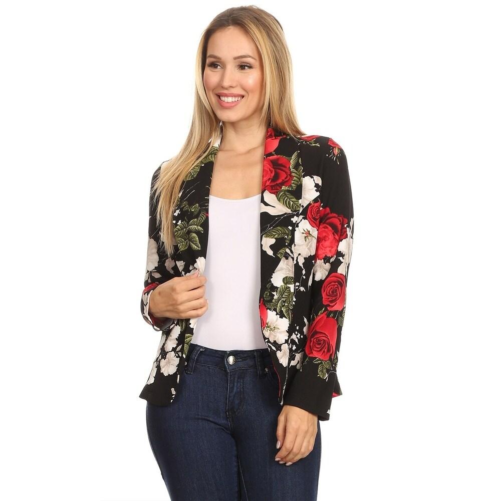Womens Casual Pattern Print Blazer Jacket