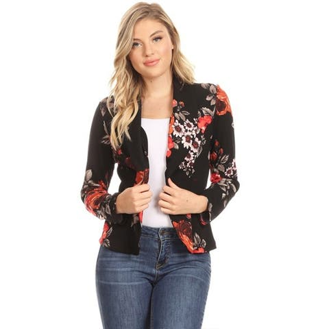 Women's Casual Pattern Print Blazer Jacket
