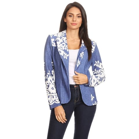 Women's Casual Pattern Print Blazer Jacket