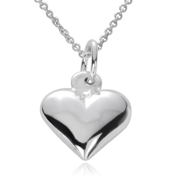 Journee Collection Sterling Silver Small Puff Heart Necklace