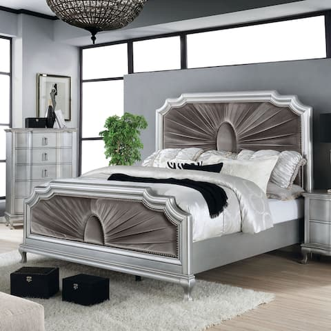 Furniture of America Maza Silver 2-piece Bed and Chest Set