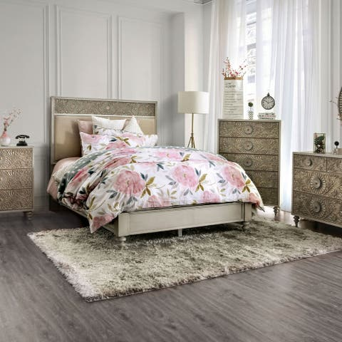Furniture of America Daff Beige 2-piece Bed and Chest Set