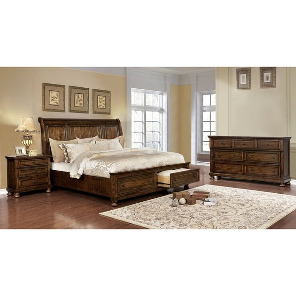 Furniture of America Mallone 3-piece Bed w/ Nightstand and Dresser Set