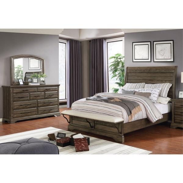 Furniture of America Kete Walnut 2-piece Bed and Dresser Set