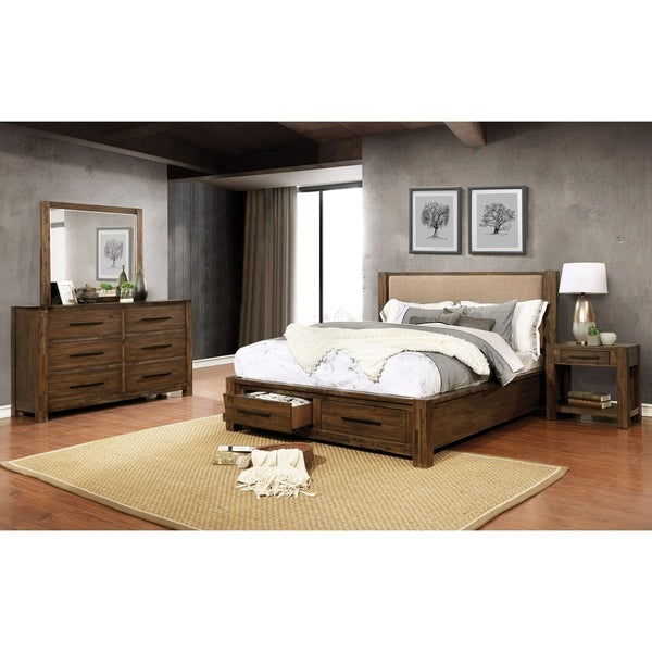Furniture of America Pore 3-piece Bed with Nightstand and Dresser Set