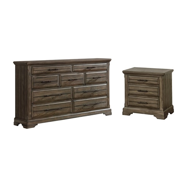 Furniture of America Kete Walnut 2-piece Nighstand and Dresser Set