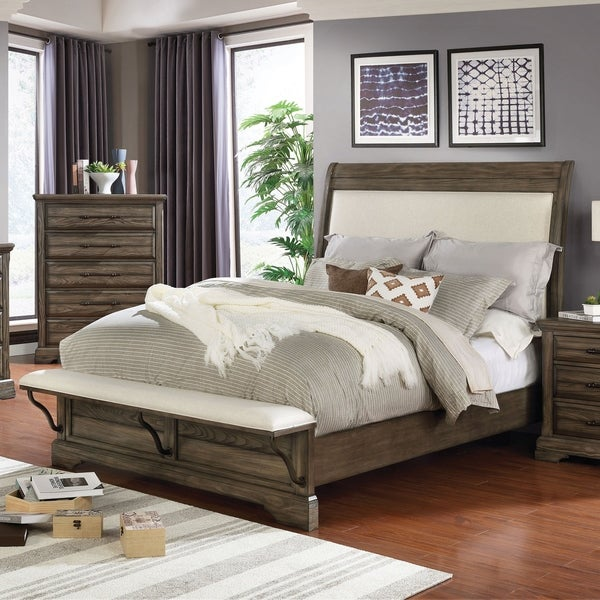 Furniture of America Kete Walnut 2-piece Padded Bed and Chest Set