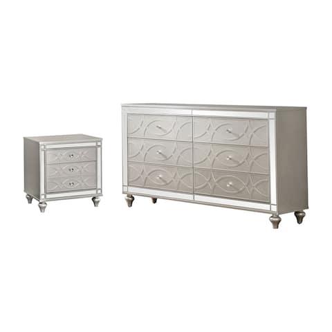 Furniture of America Brice Silver 2-piece Nightstand and Dresser Set