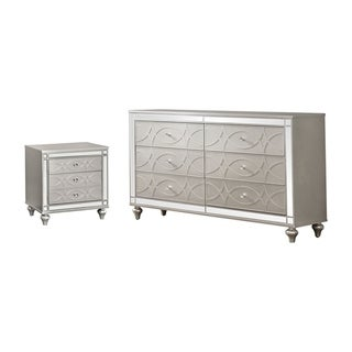 Silver Orchid Brice Silver 2-piece Nighstand